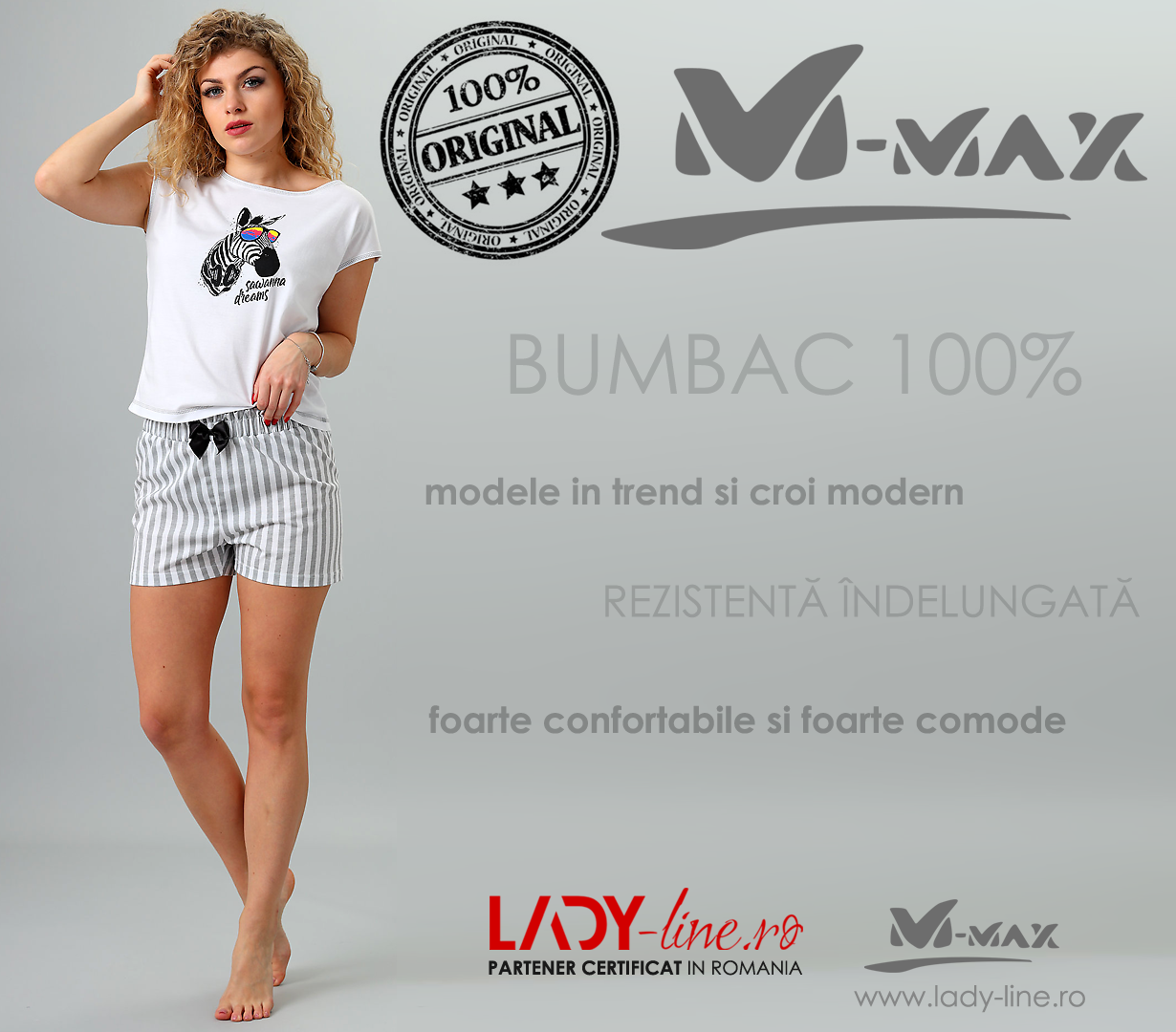Pijamale Dama M-Max, Bumbac 100%, 'Sawanna Dreams' White