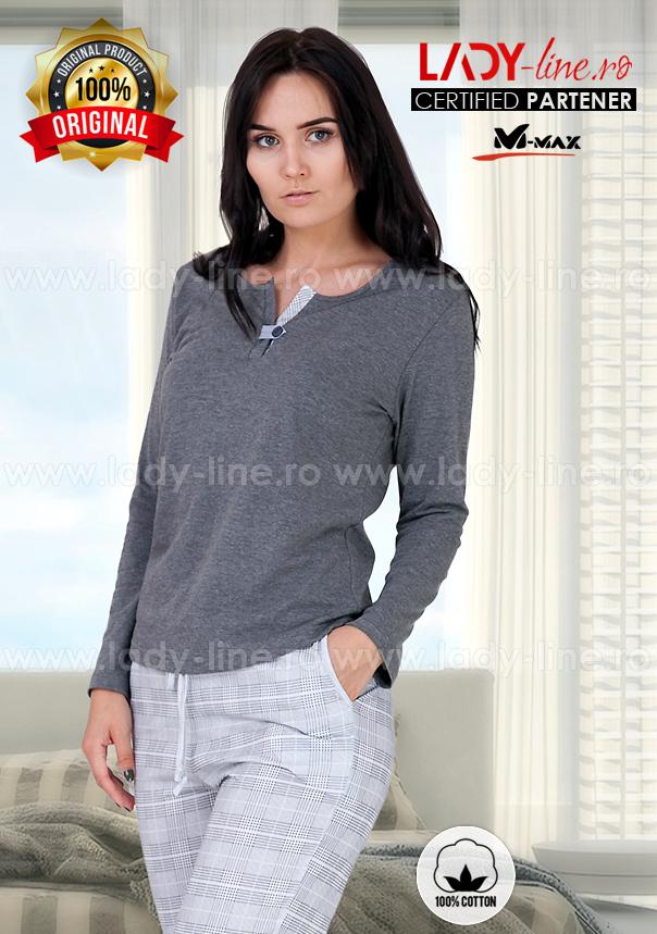 Pijama Dama Bumbac, M-Max, 'Spirit of Gray'