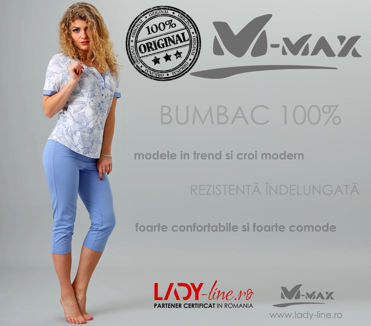 Pijama Dama M-Max, Bumbac 100%, 'Stateliness'