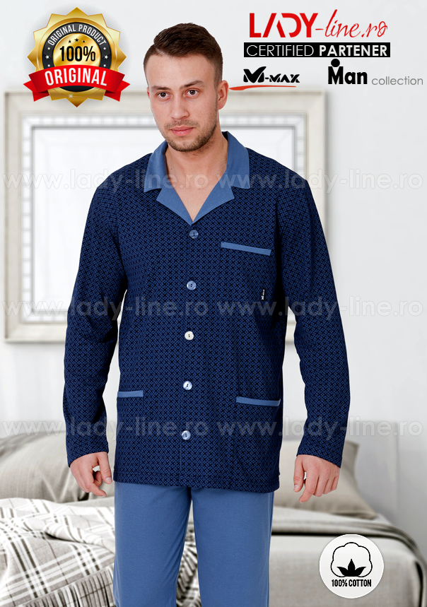 Pijamale Barbati cu Nasturi, Bumbac 100%, 'Stylish', M-Max