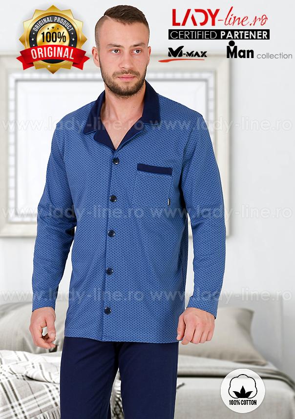 Pijamale Barbati cu Nasturi, Bumbac 100%, 'Stylish Blue', M-Max