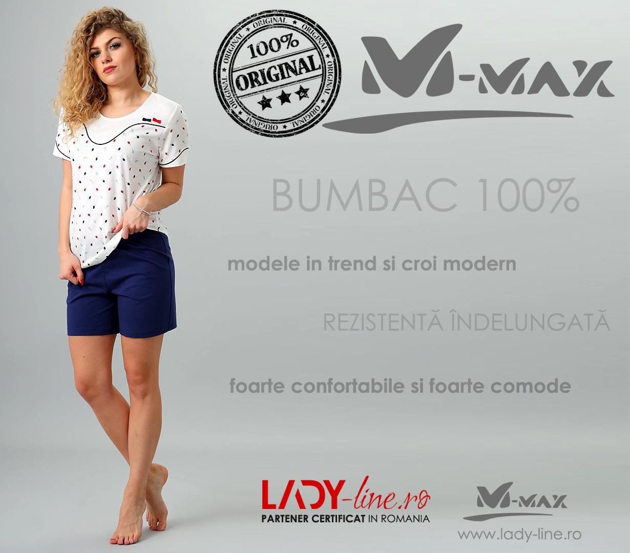 Pijamale Dama M-Max, Bumbac 100%, 'Lost World'