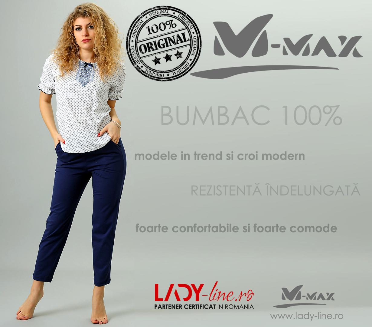 Pijama Dama M-Max, Bumbac 100%, 'Tradition'