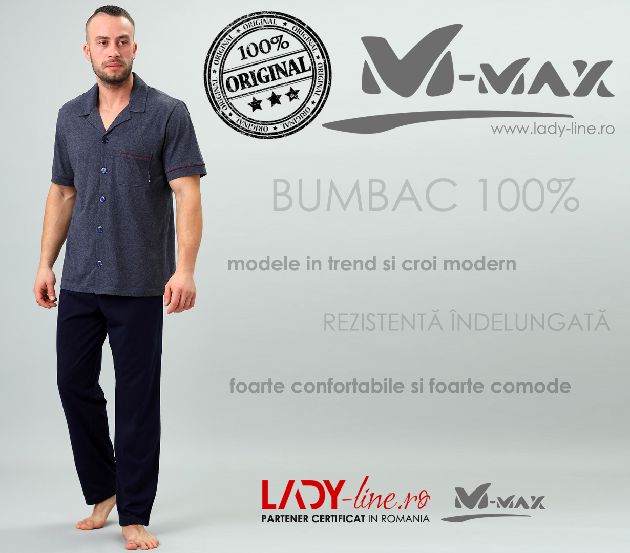 Pijamale Barbati M-Max, Bumbac 100%, 'North Adventure'