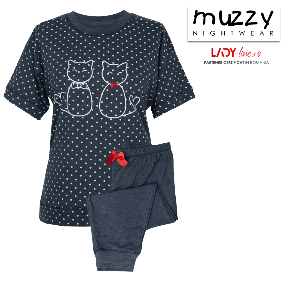 Pijama Dama Muzzy, 'Kittty Family' Dark Gray
