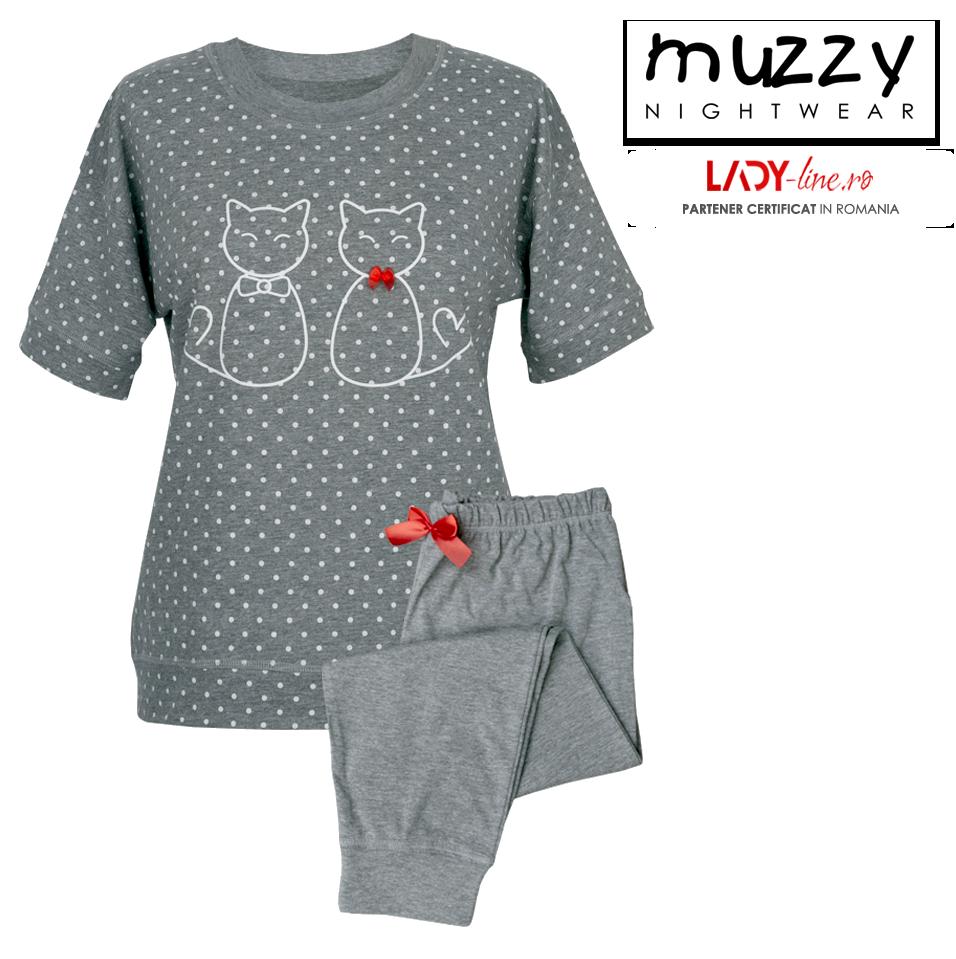 Pijama Dama Muzzy, 'Kittty Family' Gray