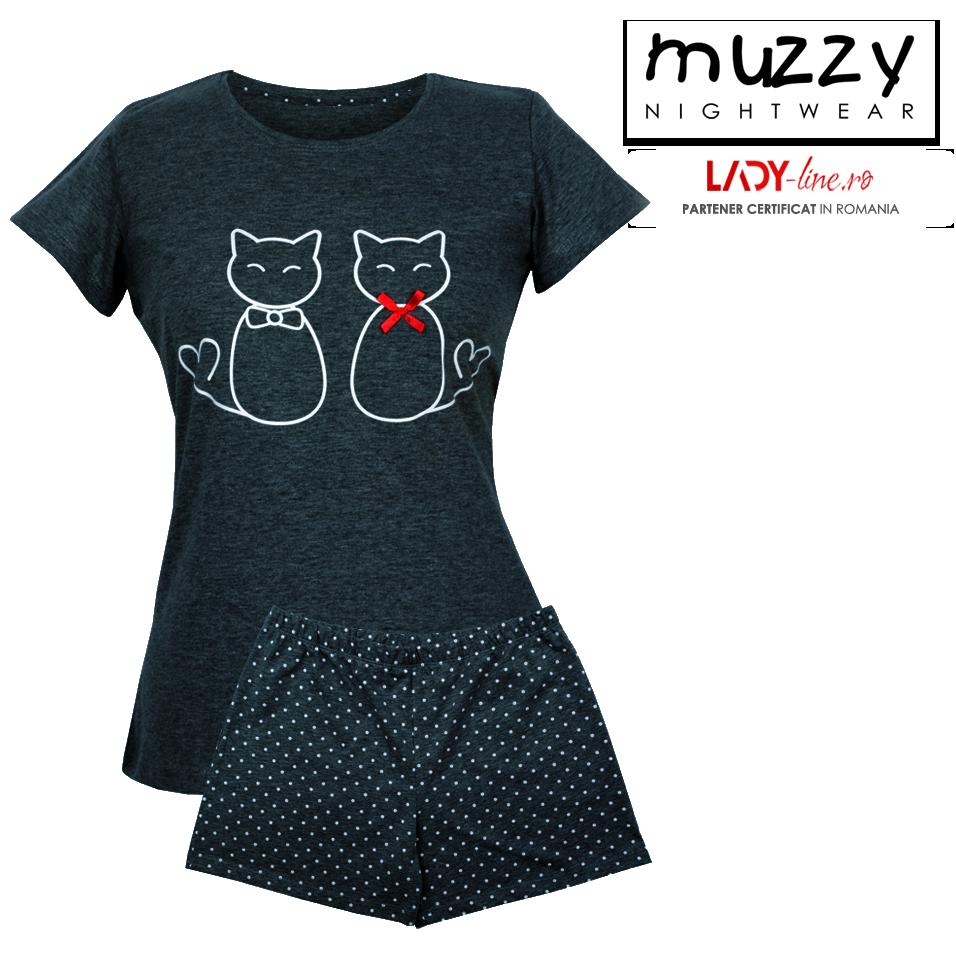 Pijama Dama Muzzy, 'Lovely Kittens' Dark Gray