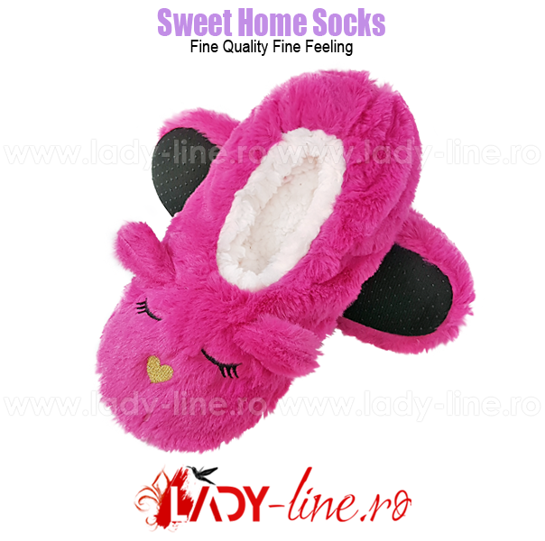 Papuci de Casa Tip Saboti, 'Sleeping Kitty' Fuchsia