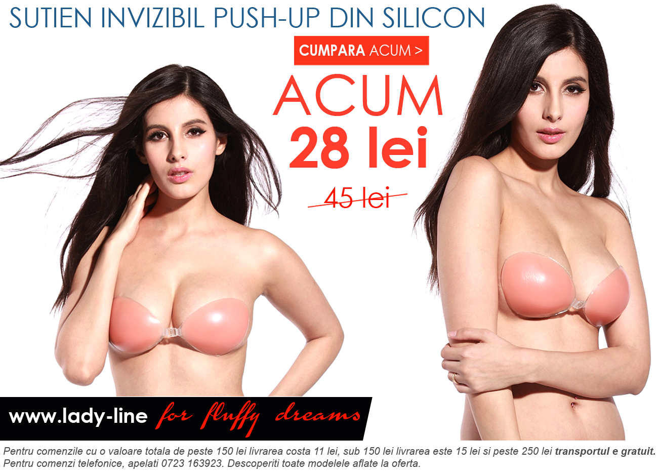 Sutien Invizibil Push-Up Din Silicon
