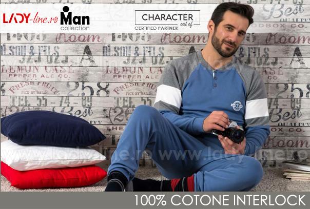Pijamale Barbati Bumbac 100% Interlock, Brand Charachter, 'Ocean Spirit' Blue
