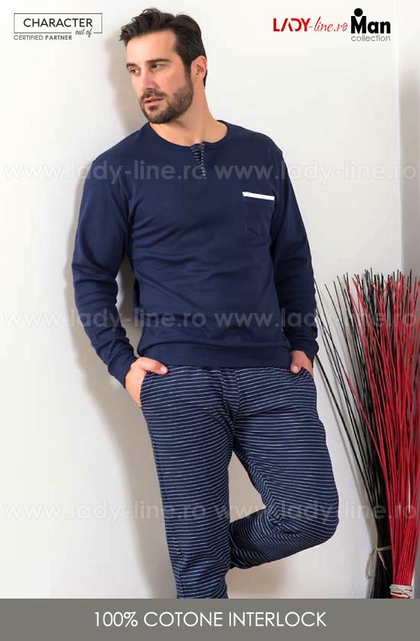 Pijamale Barbati Bumbac Interlock, Brand Snelly L'Originale, 'Ocean & Earth' Blue.