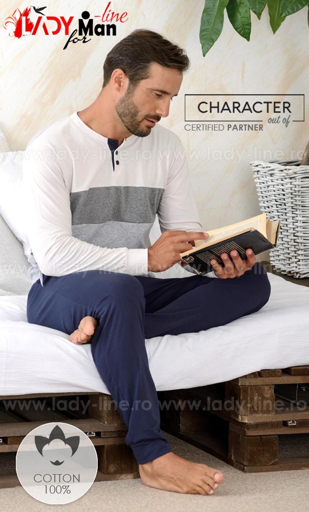 Pijama Barbati, Bumbac 100%, Brand Charachter, 'Stress Free' Blu Scuro