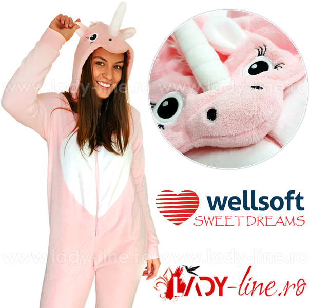 Salopeta Dama Pufoasa Welsoft, Model 'Pink Unicorn'