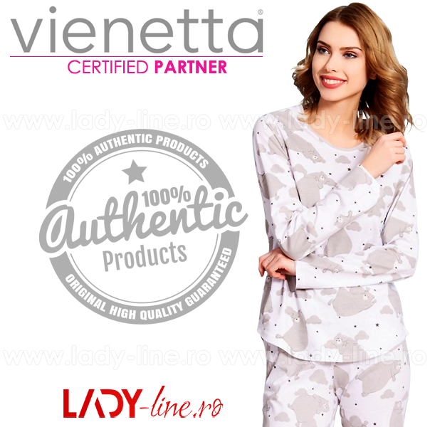 Pijamale Vienetta Secret Bumbac 100%, 'Dancing Bear' Gray