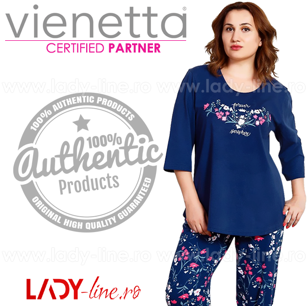 Pijamale Vienetta Secret Bumbac 100%, 'Forever Starts Here'
