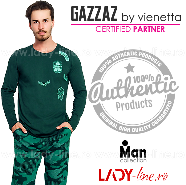 Pijamale Gazzaz by Vienetta, Bumbac 100%, 'Air Force' Green