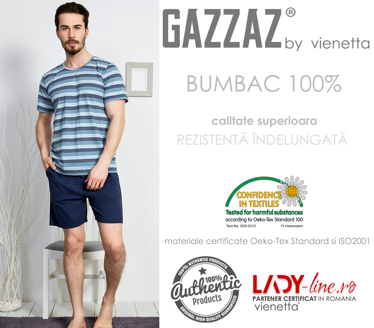 Pijama Barbati Gazzaz by Vienetta, 'Backstage' Blue