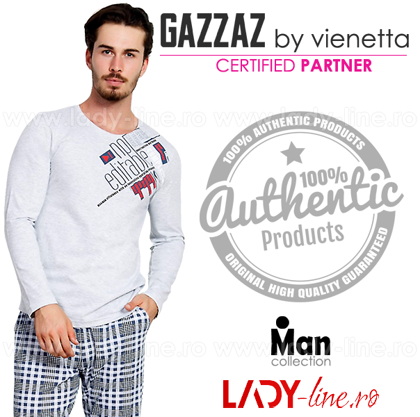 Pijama Barbati Gazzaz by Vienetta, 'No Editable' Gray
