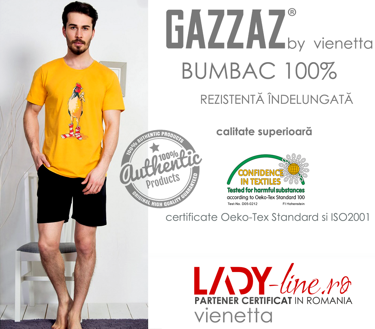 Pijama Barbati Gazzaz by Vienetta, 'Rooster - Limited Edition' Yellow