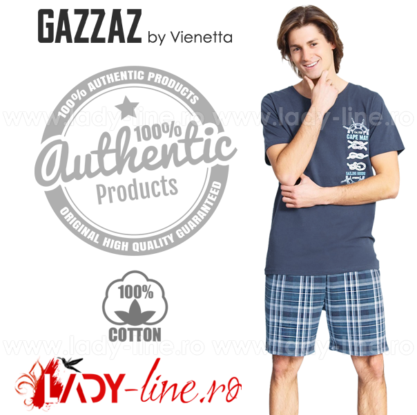 Pijamale Gazzaz by Vienetta, Bumbac 100%