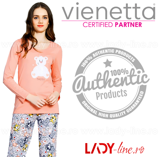 Pijamale Vienetta Secret, Bumbac 100%, 'Happy'