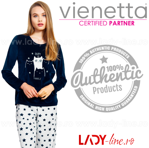 Compleu Velur Dama Vienetta, 'Happy Family' Dark Blue