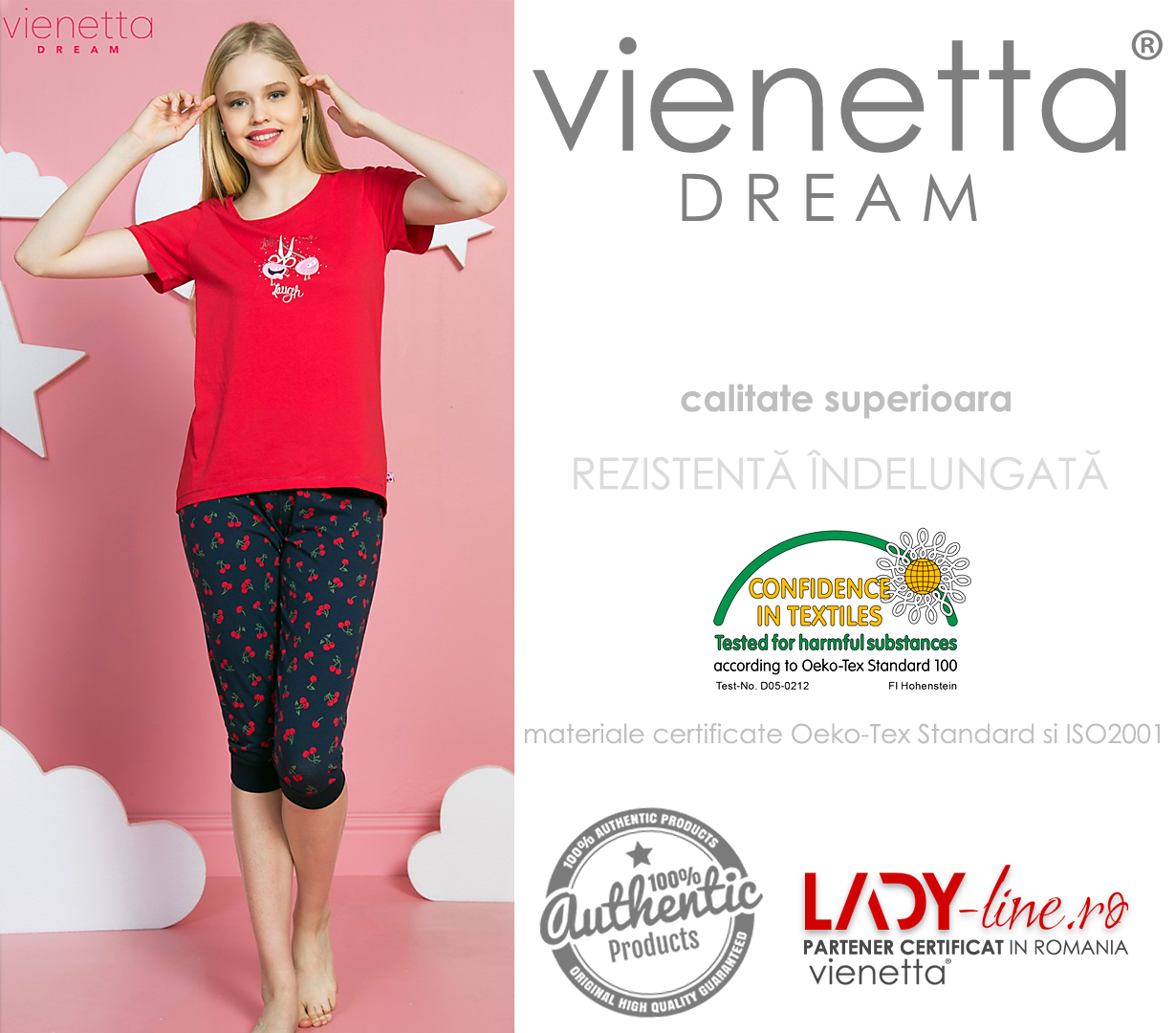 Pijamale Vienetta Dama, 'Live Love Laugh' Red