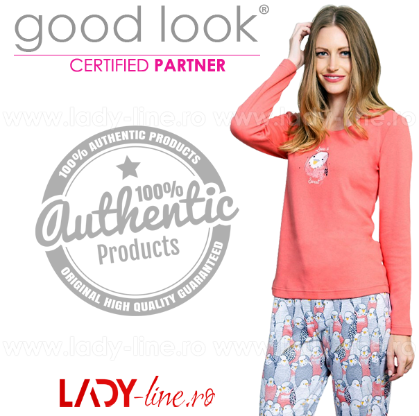 Pijamale Bumbac Interloc, Good Look, 'Love is Sweet' Pink