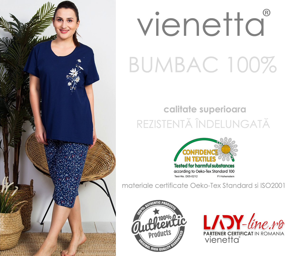 Pijama Dama Vienetta, Bumbac 100%, 'Love Yourself Honey'