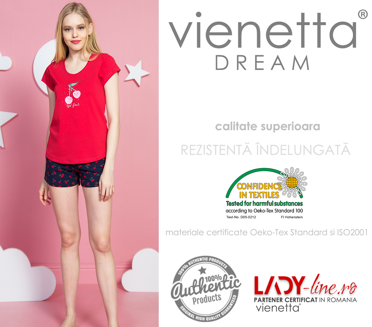 Pijamale Dama Vienetta, 'My Best Friend' Red