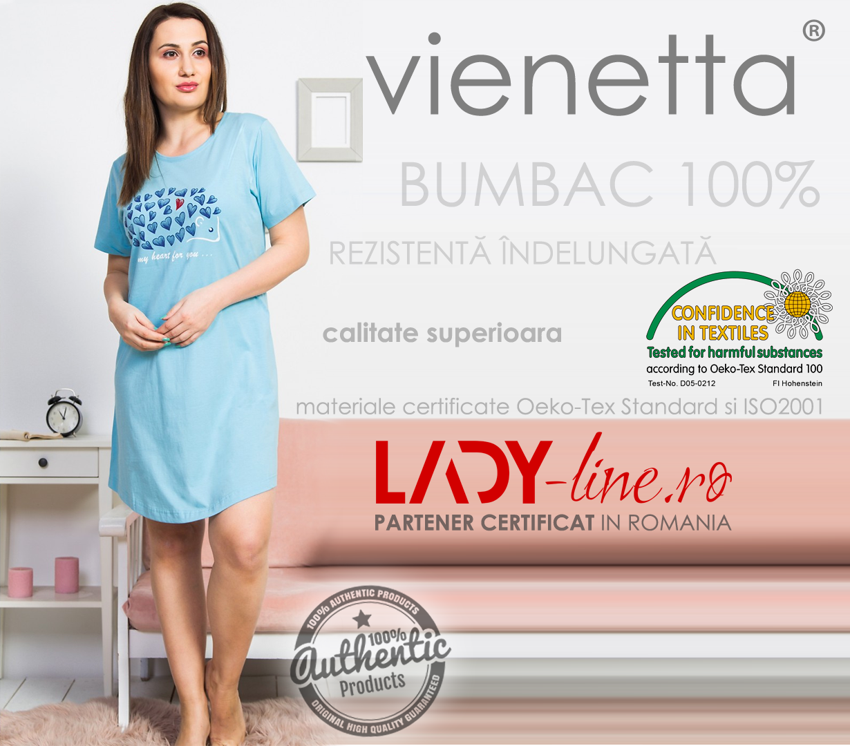Camasa Dama Vienetta, Bumbac 100%, 'My Heart for You' Blue