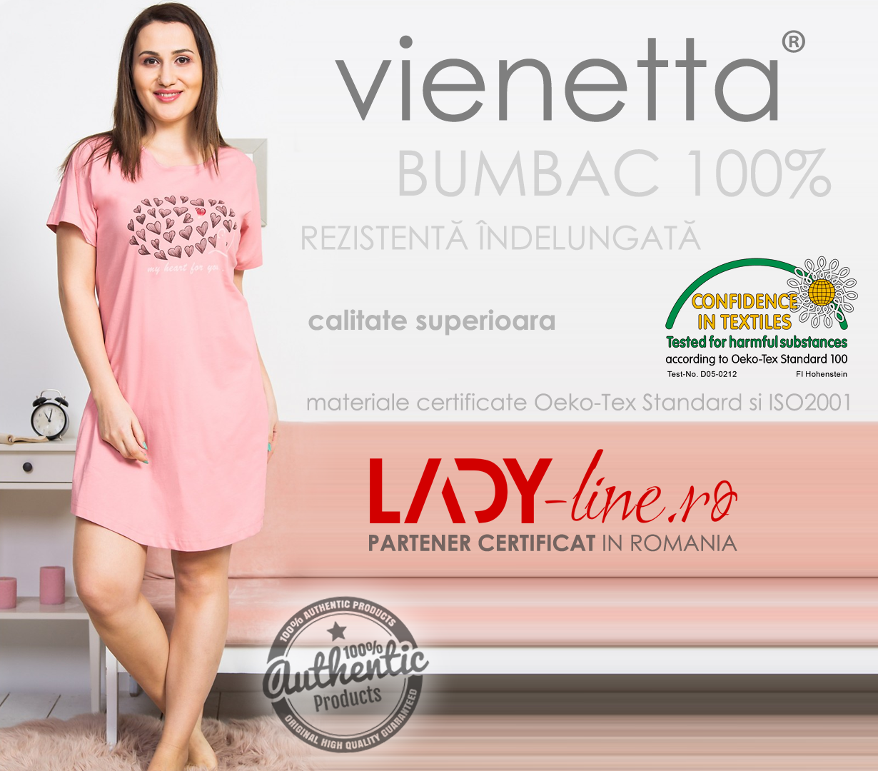 Camasa Dama Vienetta, Bumbac 100%, 'My Heart for You' Pink