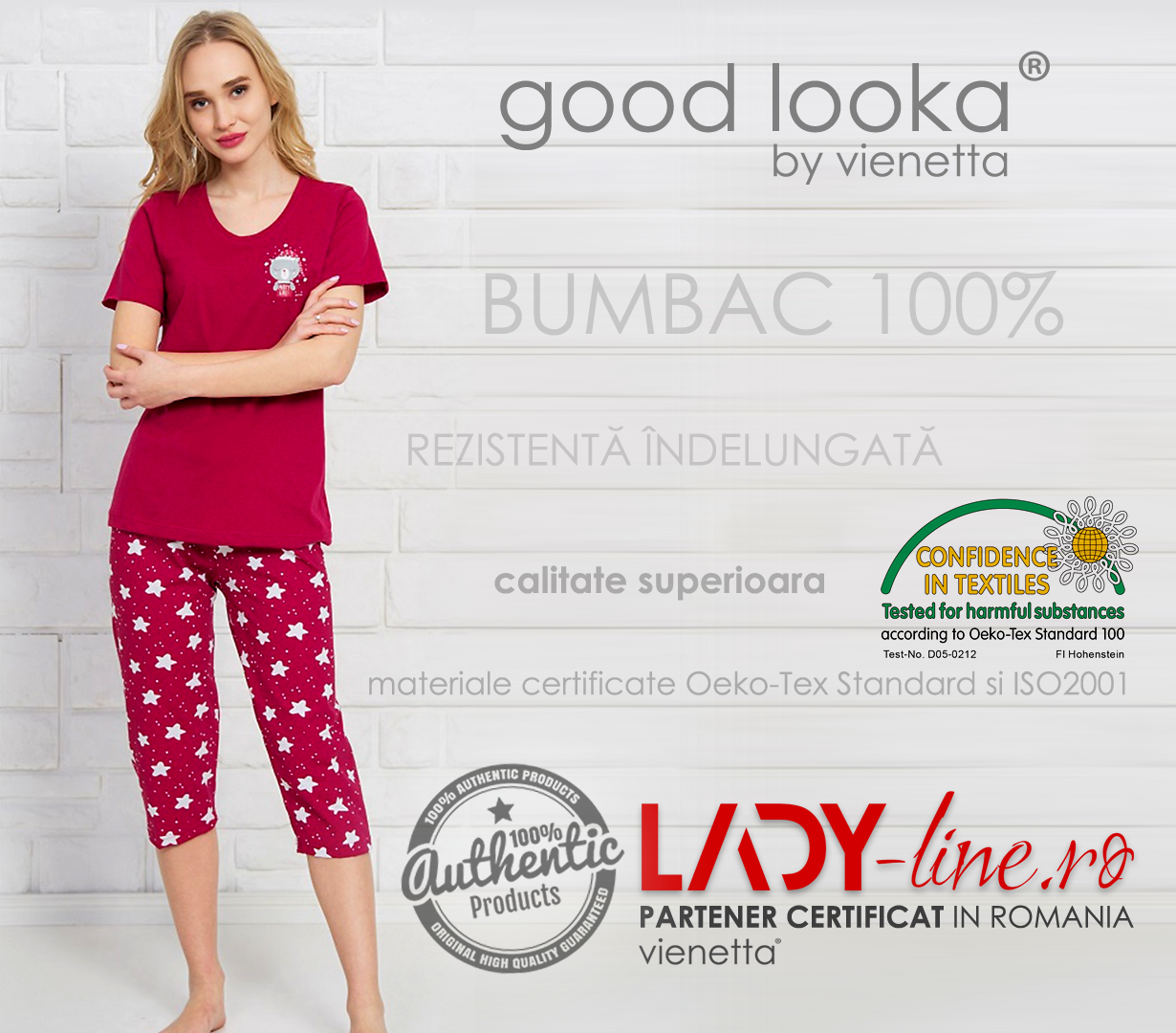 Pijama Dama Good Look, Bumbac 100%, 'Party Girl'