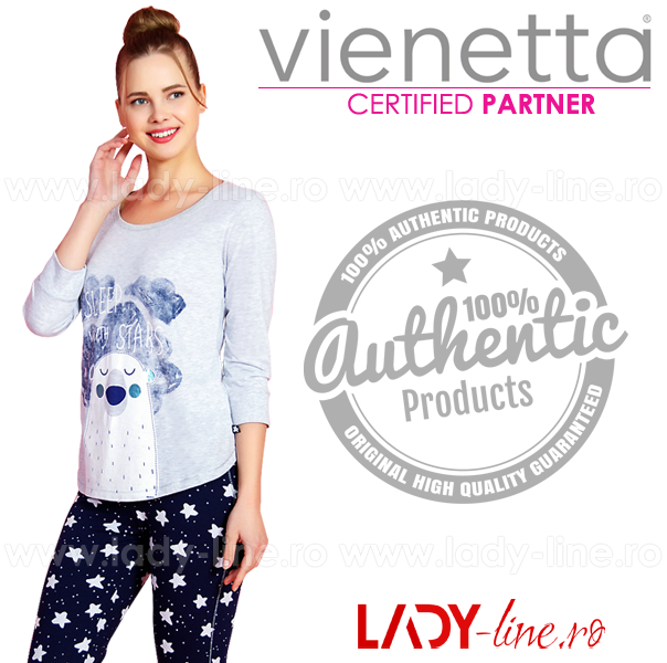 Pijamale Vienetta Secret, Bumbac 100%, 'Sleep With Stars'