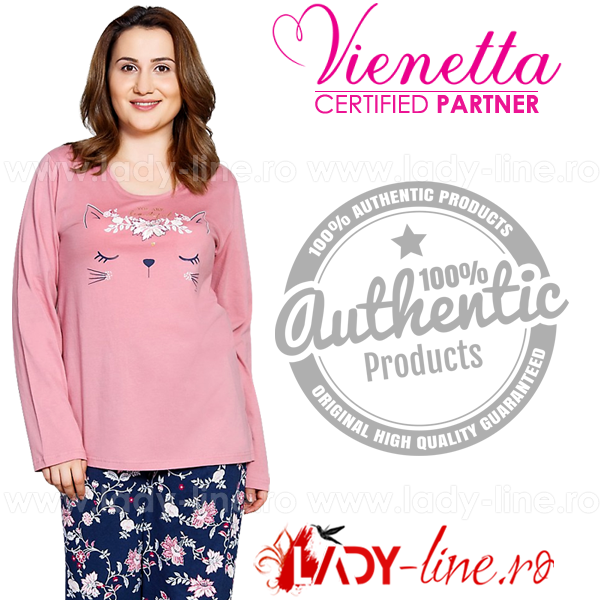 Pijamale Vienetta Secret, Bumbac 100%, 'You Are Beautiful' Mineral Pink