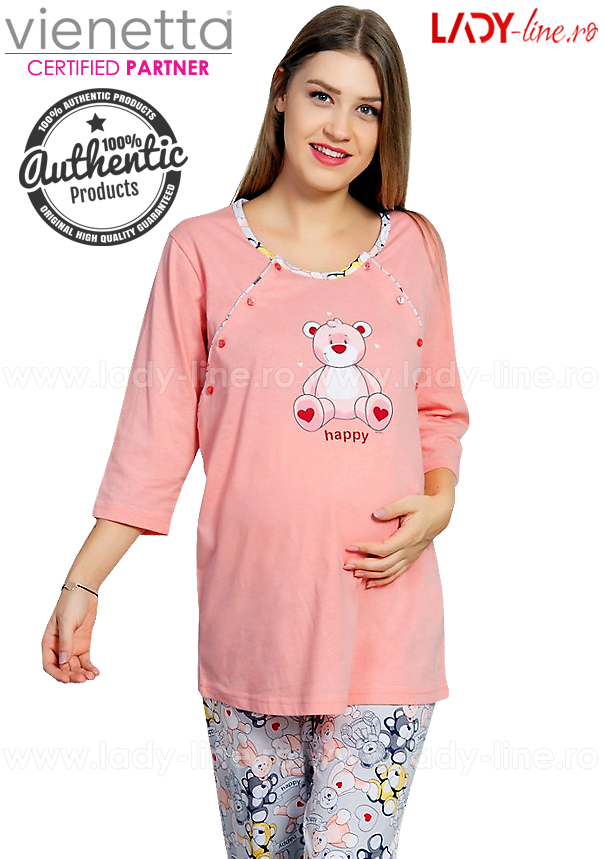 Pijamale Mamici Vienetta Secret, Bumbac 100%, 'Happy Moammy'