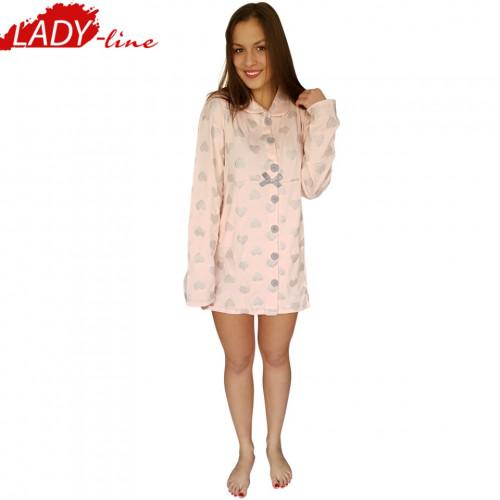 Camasa Dama Maneca Lunga, Model First Love, Brand Italian Fashion Design, Material Bumbac 88%, Culoare Roz, Camasi De Noapte Satisfactie 100%