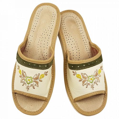 Papuci de Casa Dama Sezon Vara Material Piele Culoare Crem Model 'Cream Flex'