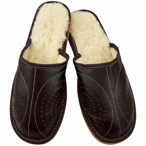 Papuci de Casa Imblaniti cu Lana de Oaie Culoare Maro Model Regalia Brown