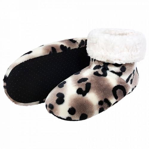 Papuci de Casa tip Cizmulite Animal Print, 'Snow Leopard'