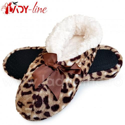 Papuci de Casa Tip Saboti, Animal Print Leopard, Papuci Interior Imblaniti