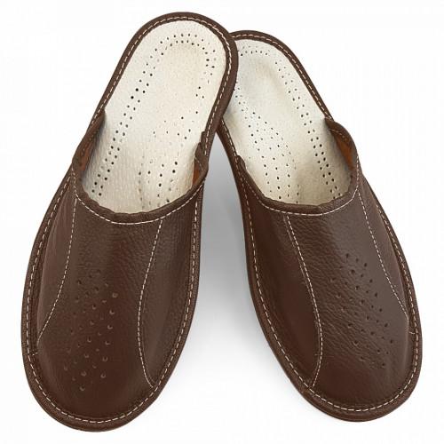 Papuci de Casa Vara din Piele Culoare Maro Model 'Back to Classic'
