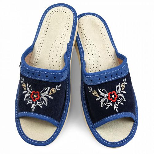 Papuci de Casa Vara din Piele Intoarsa Culoare Albastra Model 'Tradition Spirit'