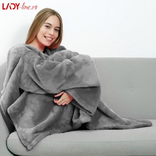 Patura cu Maneci Unisex, Confort Gray, Dimensiune 175x140