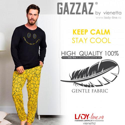Pijama Barbati Bumbac 100% Gazzaz by Vienetta 'Keep Calm - Stay Cool'