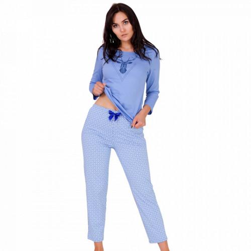 Pijama Dama Bumbac, M-Max, 'Adventurous Night' Blue