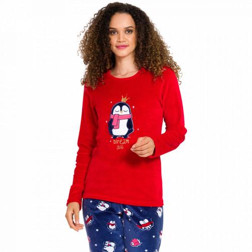 Pijama Dama Soft Velur, Vienetta, 'Dream Big' Red