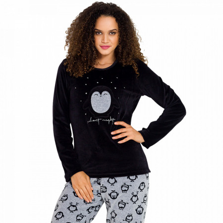 Pijama Dama Soft Velur, Vienetta, 'Silent Night' Black