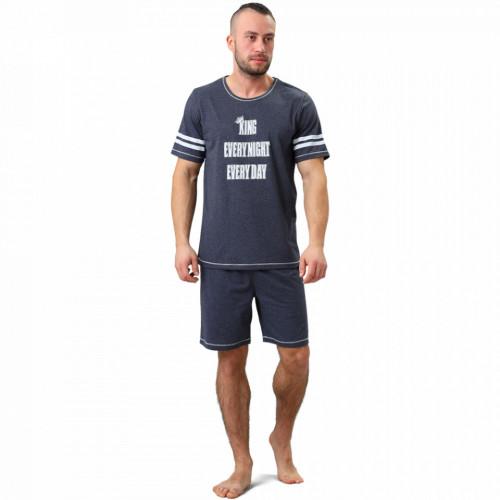 Pijamale Barbati M-Max, Bumbac 100%, 'King EvryNight EveryDay' Dark