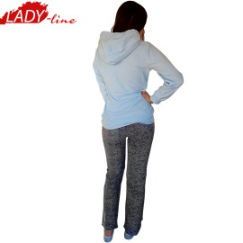 Poze Pijamale Dama Calduroase Maneca Lunga, Model Flying Elephant, Producator Benter Fashion Wear, Material Micropolar, Culoare Albastru/Gri, Pijamale Calduroase Dama Maneca si Pantalon Lung